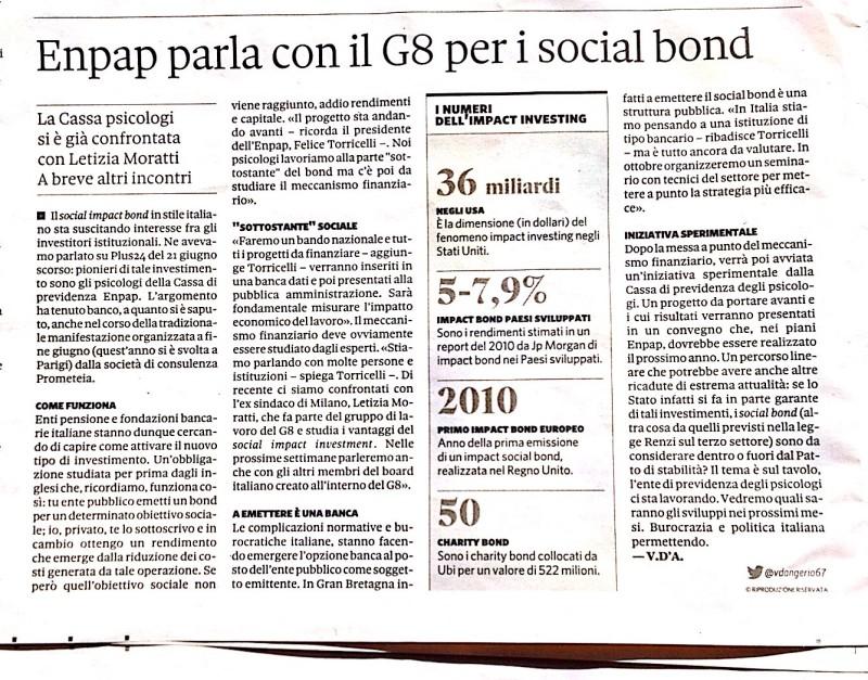 Sole24Ore ENPAP - Social Impact Bond